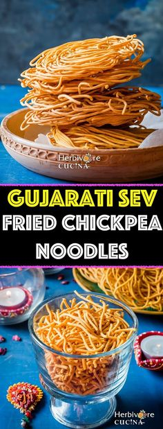 Gujarati Sev, an addictive snack made from spiced Chickpea Flour is something you need this Diwali and beyond! Gujarati Recipes, Indian Food Recipes, Gujarati Cuisine, Diwali Food, Good Food, Yummy Food, Vegetarian Snacks, Indian Snacks, Spicy Recipes