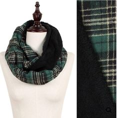 """NWT Green Plaid Faux Fur Infinity Scarf NWT Green Plaid Sherpa Lined Infinity Scarf. Soft flannel material with a Black Sherpa lining that makes this your best accessory for cold weather! Width is approx 11"""", length 60"""". 🚫No Trades and No Paypal🚫 Accessories Scarves & Wraps"""