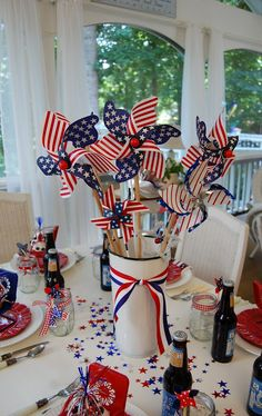 Patriotic Decorations On A Table With A Fruit Cup Contains Many Flags The Occasional Usage of Patriotic Decorations Exterior bath party themed classroom bicycle door craft to make Summer Table Decorations, Holiday Centerpieces, 4th Of July Decorations, Holiday Tables, Pinwheel Centerpiece, Table Centerpieces, Military Decorations, Table Arrangements, House Decorations
