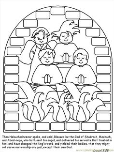 Shadrach Meshach And Abednego Coloring Page Bible Pages