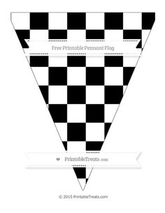 Free Black Checker Pattern  Simple Pennant Flag