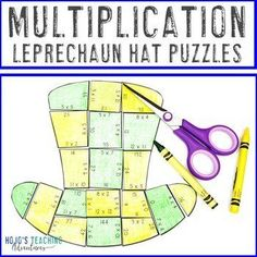 St Patricks Day Math Centers or Games | Multiplication Leprechaun Hat Puzzles | 3rd, 4th, 5th grade, Activities, Basic Operations, Games, Homeschool, Math, Math Centers, St. Patrick's Day 5th Grade Classroom, Special Education Classroom, 12th Maths, Leprechaun Hats, Multiplication Facts, Homeschool Math, 5th Grades, Rubrics, Math Centers