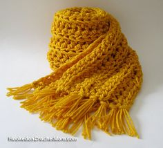 Long Scarf with Fringe in Gold Color for Men or Women Everyday Wear Crochet Winter Accessory Handmade #scarf #crochet #hookedoncrochetmom