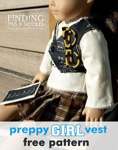 """Finding Pins & Needles: Preppy Girl Vest: American girl free pattern. An adorable vest for your 18"""" doll, FREE tutorial and pattern."""