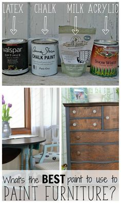 What's the best type of paint for painting furniture? This post compares the major types and gives the pros, cons, and uses for each one! It's a must read for anyone thinking of painting a piece for their home.