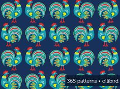 Roosters: 365 Patterns in 2013, by Alma Loveland, http://ollibird.com