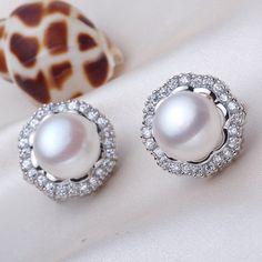 Large Pearl Stud Earrings Clip On Freshwater Earings Jewelry