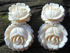Carved Rose Earrings Dangle Style Clip On by AngiezillasBoutique, $39.99