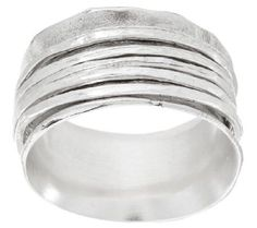 Sterling Silver Hammered Spinner Ring by Or Paz