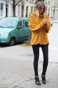 this slouchy sweater in mustard yellow looks cozy enough to lounge in {yet stylish enough for a fall dinner party with friends}