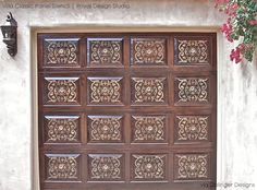 Stencil the Villa Classic Panel Stencil on exterior wood garage doors for stunning pattern design - That's pretty nifty. Wall Patterns, Painting Patterns, Villa, Royal Design, Garage Design, Painted Doors, Layers Design, Floor Design, Paint Designs