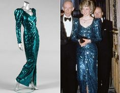 Princess Diana wore this Catherine Walker sea-green sequined evening gown at the Burgtheater in Vienna in 1986. (kerrytaylorauctions.com| Mauro Carraro/Rex USA)
