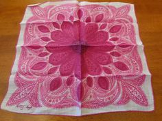 Artist Signed Tammis Keefe Vintage Handkerchief Linen Large Pink Flower Center Hand rolled hem by Chickshak on Etsy