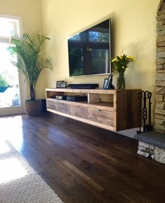 Floating notched leg media console / tv stand by Reclaimtofame1