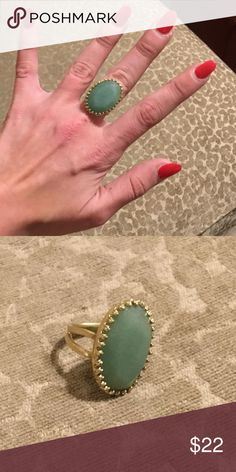 Adjustable Matte Gold Jade Gemstone Cocktail Ring Adorable, maybe worn once, perfect condition, easy adjustable size for a wide range of sizes, neutral but still a Statement maker! Stella & Dot Jewelry Rings