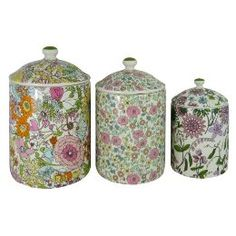 The prettiest canisters my eyes have ever seen! Liberty Of London Canisters Liberty Print, Liberty Fabric, Flower Patterns, Print Patterns, Up House, Kitchen Collection, Canister Sets, Shabby Chic Cottage, Liberty Of London