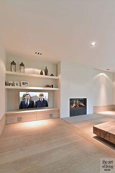 Woonkamer, houten vloer, televisie, open haard, natuurlijke materialen, klassiek modern, Jurgen Weyne