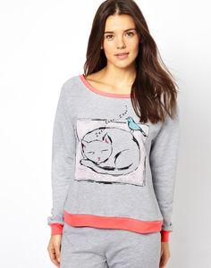 ASOS Cat Print Contrast Night Sweater http://picvpic.com/women-loungewear/3560524-asos-cat-print-contrast-night-sweater#grey~pink