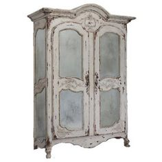 Beau Vintage White French Mirrored Armoire
