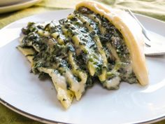 Savory Spinach-Filled Crepe Cake w/Cheddar Sauce