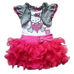 vestido hello kit infantil, transado, roupas transadas, roupa infantil,