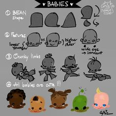 Tuesday tips -- drawing babies! Here are a few tips on how to draw babies: Bean shape. You can add any chubby cheeks to any basic… Male Character, Character Design Sketches, Fantasy Character, Character Design Tutorial, Character Design Animation, Character Design References, Character Drawing, Manga Drawing Tutorials, Cartoon Drawing Tutorial
