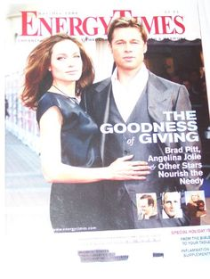 Energy Times Magazine Angelina Jolie & Brad Pitt, Bono, Paul Newman, The Goodness of Giving Nov / Dec 2008 $6.99