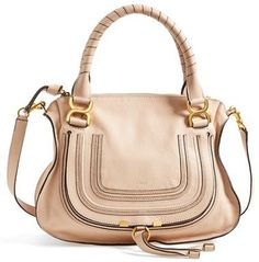 $795, Beige Leather Crossbody Bag: Chloé Marcie  Small Leather Crossbody Bag. Sold by Nordstrom. Click for more info: http://lookastic.com/women/shop_items/109823/redirect