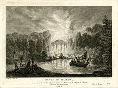 View of Trianon, after Lespinasse: the park at night, with in the left foreground courtiers resting on the bank of the canal, beyond at right figures in a rowing boat, and in the background, on the opposite bank, figures gathering around a tholos sheltering a statue of Cupid.  c.1781/96 Etching and engraving