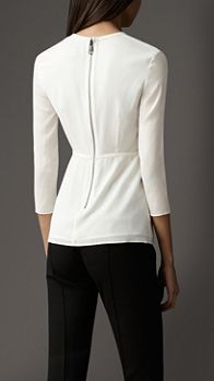Stretch-Silk Crossover Front Top | Burberry
