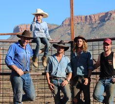 Days mustering done. @saltydavenport @australian_cowboy @lincoln.haycroft @hawkeye_outback and Octavius rolling the pose with the Cockburn ranges in the background. #ringersgotgame #ringerswestern #ringerforadollar http://ift.tt/1VSP58U