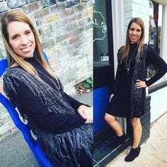 The perfect black dress then add a layer of fringe!! Love the look!  Black dress- $29.95 Grey fringe vest- $34.95 Silver statement necklace- $18.95 Grey fringe Bootie- $32.95  #madisonsbluebrick #downtownhotsprings #fringe #bootie #littleblackdress #fallfashion #shoplocal