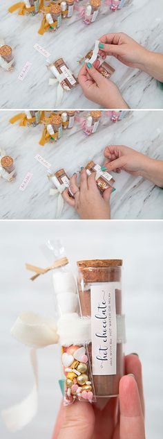 Learn how to make these adorable hot chocolate favors! Diy Wedding Backdrop, Wedding Decorations On A Budget, Diy Wedding Flowers, Cute Wedding Ideas, Handmade Wedding Favours, Edible Wedding Favors, Wedding Favors For Guests, Hot Chocolate Favors, Hot Chocolate Mix