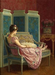Lady reclining with fan by Auguste Toulmouche