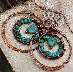 Turquoise and Hammered Copper Artisan Earrings, Wire Wrap, Double Hoop