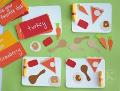 Race to FILL YOUR PLATE game!  Each card has a food item or special instruction (pick your favorite dish, select a food item from another player, etc).  First one to have a full Thanksgiving plate of food wins!