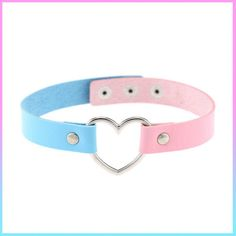 BABY BLUE+PINK HEART CHOKER sold by foreveronline. Shop more products from foreveronline on Storenvy, the home of independent small businesses all over the world. Leather Collar, Pu Leather, Vegan Leather, Leather Choker Necklace, Collar Choker, Choker Necklaces, Diamond Necklaces, Black Choker, Bracelets
