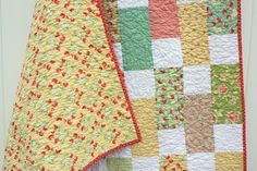 Easy bricks quilt pattern - this one was made using Moda Strawberry Fields layer cake