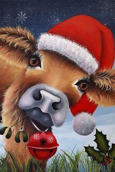 Diamond Painting Christmas Hat Cattle Paint with Diamonds Art Crystal Craft Decor Christmas Rock, Christmas Canvas, Christmas Scenes, Christmas Animals, Christmas Projects, Christmas Humor, Christmas Time, Vintage Christmas, Merry Christmas