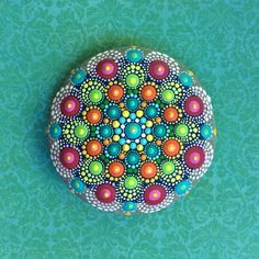 Jewel Drop Mandala Painted Stone painted by by ElspethMcLean