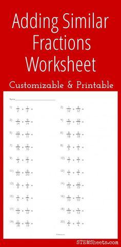 Adding Similar Fractions Worksheet - Customizable and printable