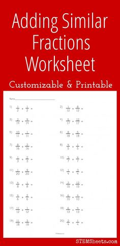 Adding Similar Fractions Worksheet - Customizable and printable