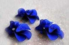 Royal blue fascinator Blue fascinator Wedding hair comb Blue headpiece Bridal hair piece Wedding fascinator by #MyArtDeco