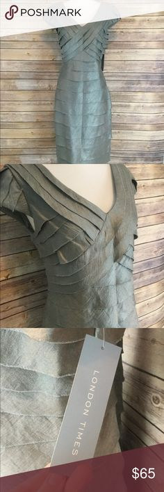 """London Times pleated dress Perfect condition, no defect. NWT. Zips up the back with hook and eye closure. Edges of pleats manufactured to be slightly frayed. Fully lined. Would be perfect for any holiday parties or winter weddings! ❄️⛄️❄️ All measurements taken lying flat - shoulder to hem 38.5"""", 16"""" narrowest part of waist, 18"""" across the underarms. London Times Dresses"""