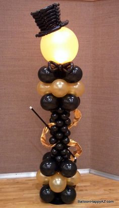 Classy Top Hat balloon Column http://balloonhappyaz.com/wp-content/uploads/2013/05/Balloon-Top-Hat-Column-Dance-Fred-Astaire-Black-Gold-Classy-Ballroom-Lighted-Copy.jpg