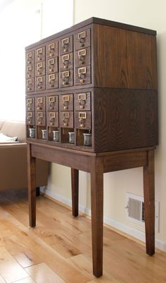 Vintage library card catalog makeover. {This cabinet makes the perfect craft storage solution!}