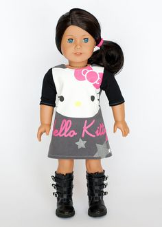 American Girl Doll upcycled Hello Kitty dress by EverydayDollwear, $15.00