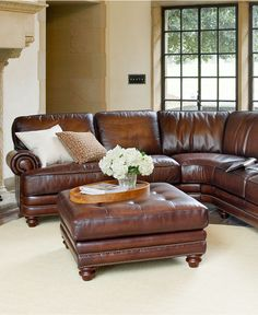 Brett Leather Sectional and Ottoman - Best in class. A smart collection, featuring hand-rubbed leather and nail-head detailing, catches the eye and infuses the room with a truly antique feel. Classic shapes and stately designs make timeless additions to your space - Macy's Sale $2,999.00