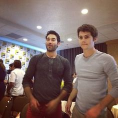 tyler hoechlin and dylan o'brien in the press room sdcc13