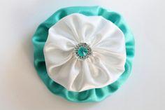 White and blue silk flower hair clip Flower by LayersandFrills, $4.99